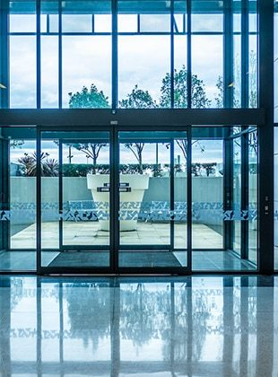 Commercial glass doors and windows in the foyer of an office building in Wollongong