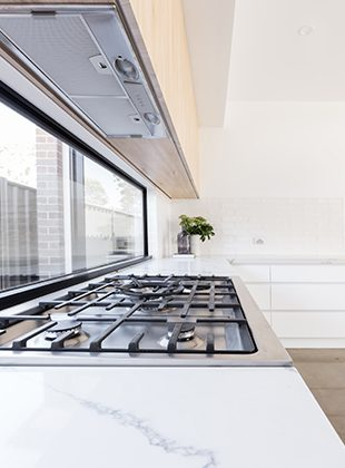 A kitchen window in a modern home in Wollongong